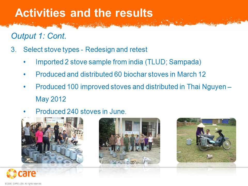 © 2005, CARE USA. All rights reserved. Activities and the results Output 1: Cont.