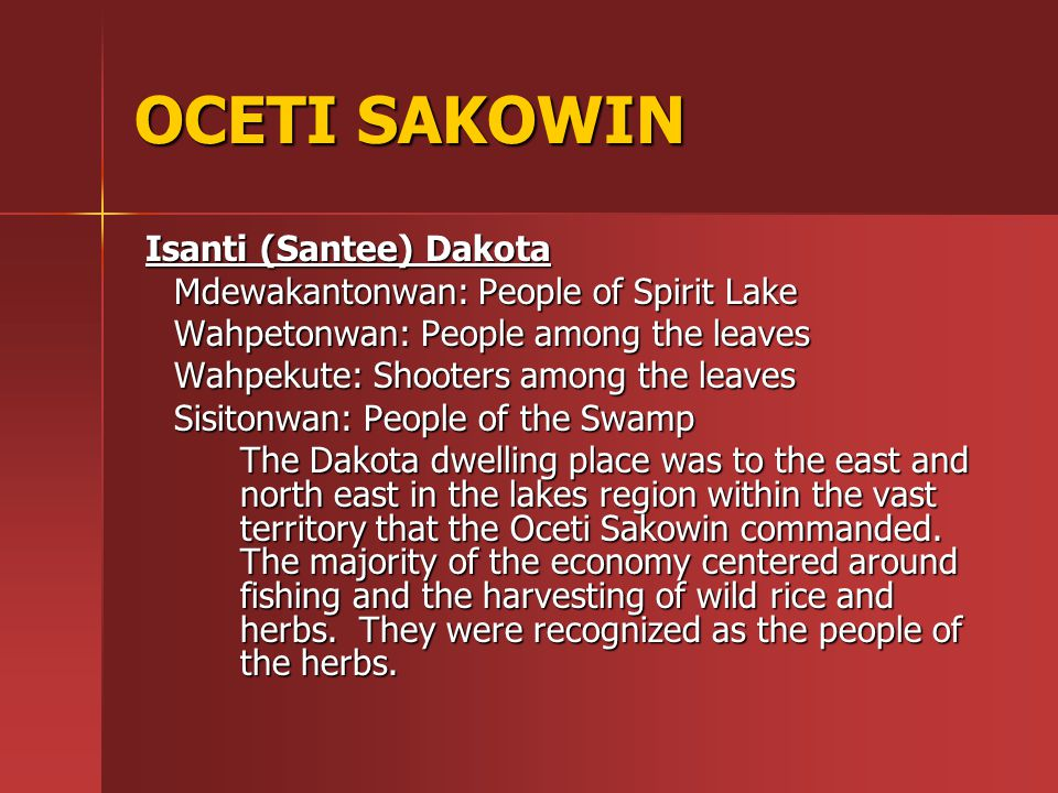 Territory of the Oceti Sakowin consisted of the majority of the Great Plains