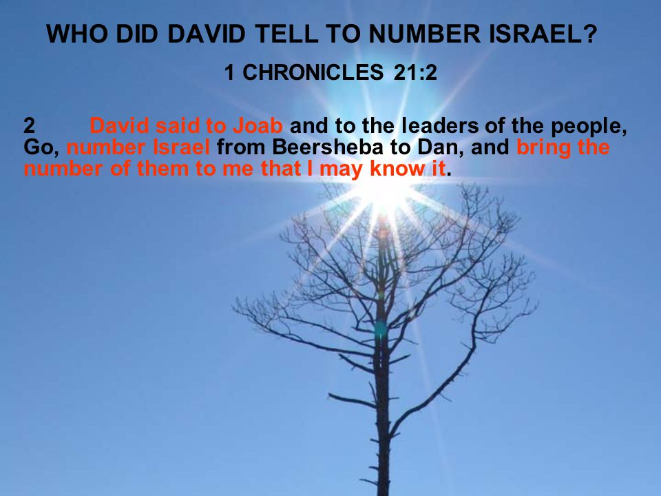 WHO DID DAVID TELL TO NUMBER ISRAEL? 1 CHRONICLES 21:2 2David said to Joab and to the leaders of the people, Go, number Israel from Beersheba to Dan,