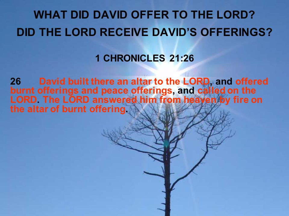 WHAT DID DAVID OFFER TO THE LORD? DID THE LORD RECEIVE DAVID'S OFFERINGS? 1 CHRONICLES 21:26 26David built there an altar to the LORD, and offered bur