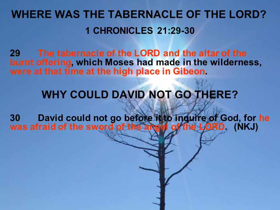 WHERE WAS THE TABERNACLE OF THE LORD? 1 CHRONICLES 21:29-30 29The tabernacle of the LORD and the altar of the burnt offering, which Moses had made in
