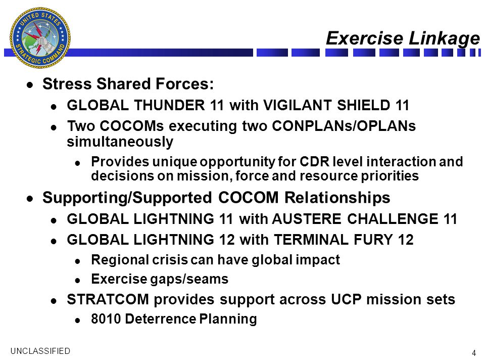 UNCLASSIFIED 4 Exercise Linkage Stress Shared Forces: GLOBAL THUNDER 11 with VIGILANT SHIELD 11 Two COCOMs executing two CONPLANs/OPLANs simultaneousl