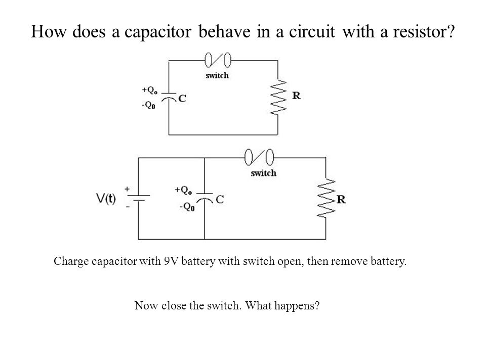 How does a capacitor behave in a circuit with a resistor? Charge capacitor with 9V battery with switch open, then remove battery. Now close the switch