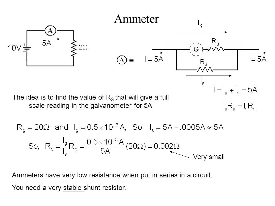 Ammeter The idea is to find the value of R S that will give a full scale reading in the galvanometer for 5A Ammeters have very low resistance when put