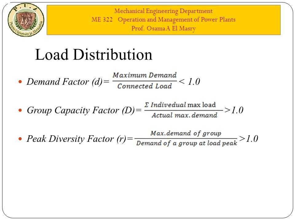 Mechanical Engineering Department ME 322 Operation and Management of Power Plants Prof. Osama A El Masry Load Distribution Demand Factor (d)= < 1.0 Gr