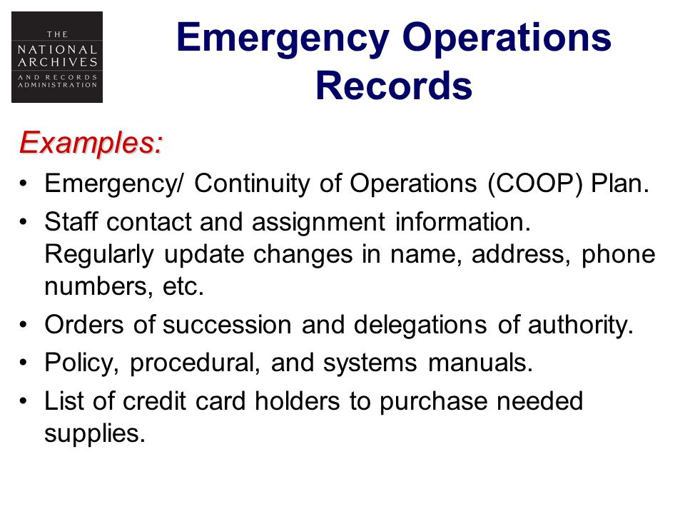 Emergency Operations Records Electronic Format Website & E-Mail - To communicate with and provide information to your employees and your customers.