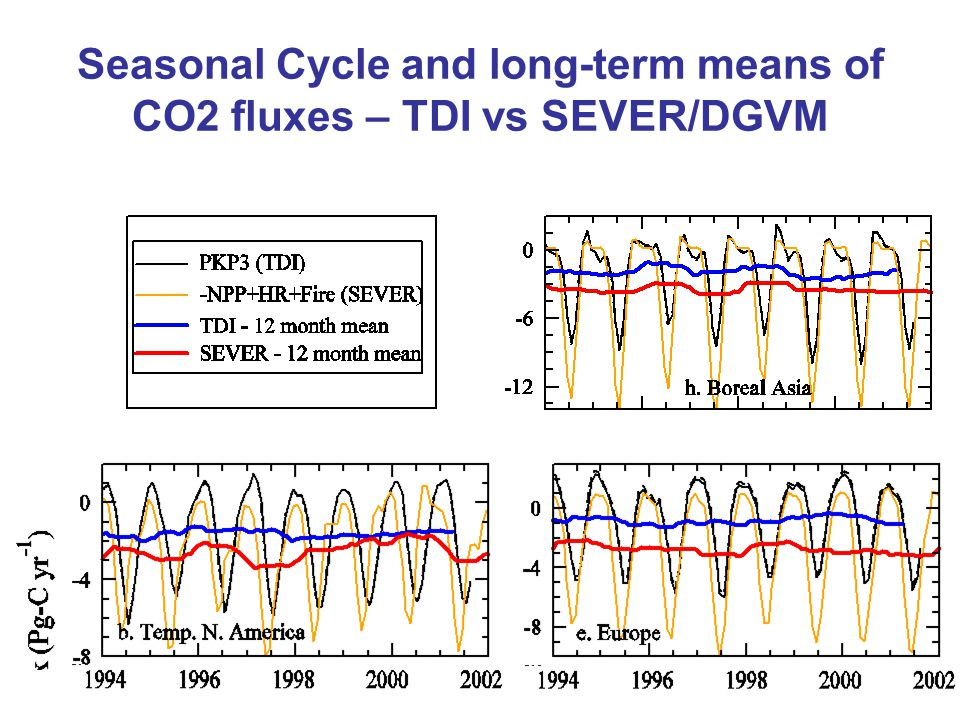 Seasonal Cycle and long-term means of CO2 fluxes – TDI vs SEVER/DGVM