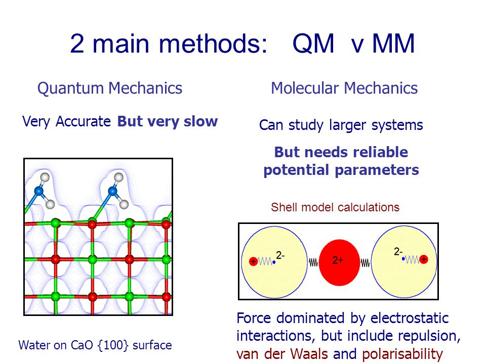 2 main methods: QM v MM Molecular MechanicsQuantum Mechanics Water on CaO {100} surface Force dominated by electrostatic interactions, but include repulsion, van der Waals and polarisability Can study larger systems But needs reliable potential parameters Very Accurate But very slow Shell model calculations