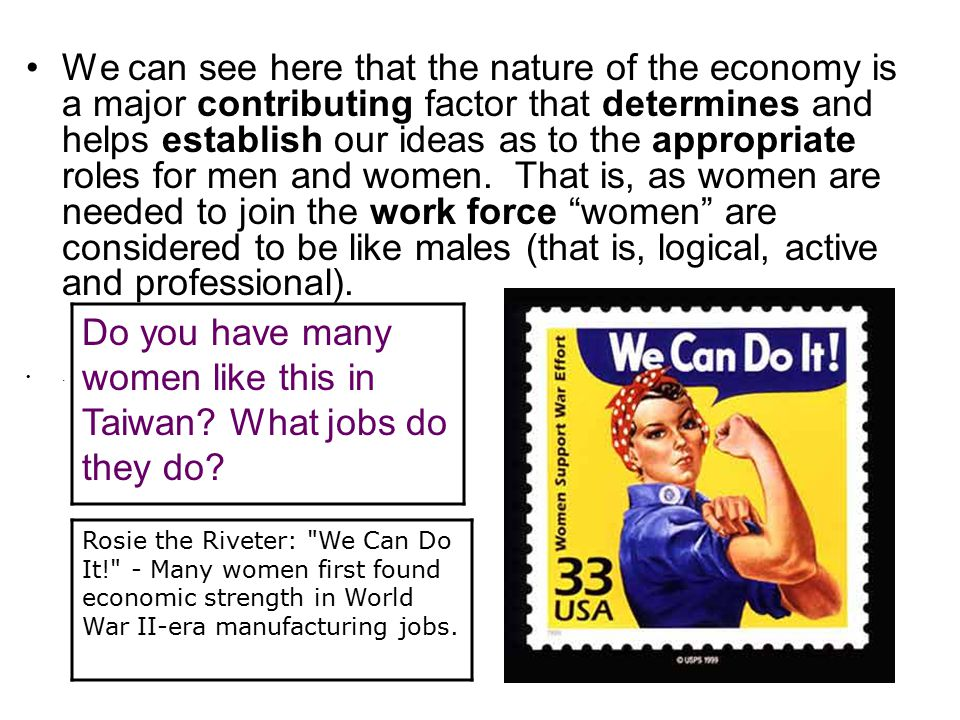We can see here that the nature of the economy is a major contributing factor that determines and helps establish our ideas as to the appropriate roles for men and women.