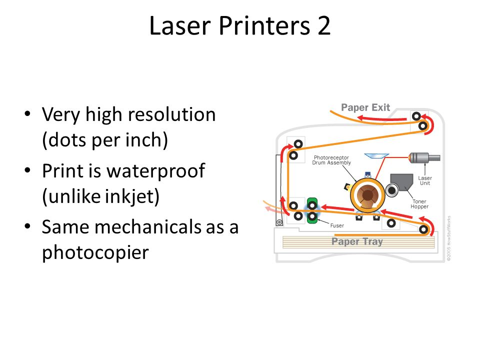 Laser Printers 2 Very high resolution (dots per inch) Print is waterproof (unlike inkjet) Same mechanicals as a photocopier