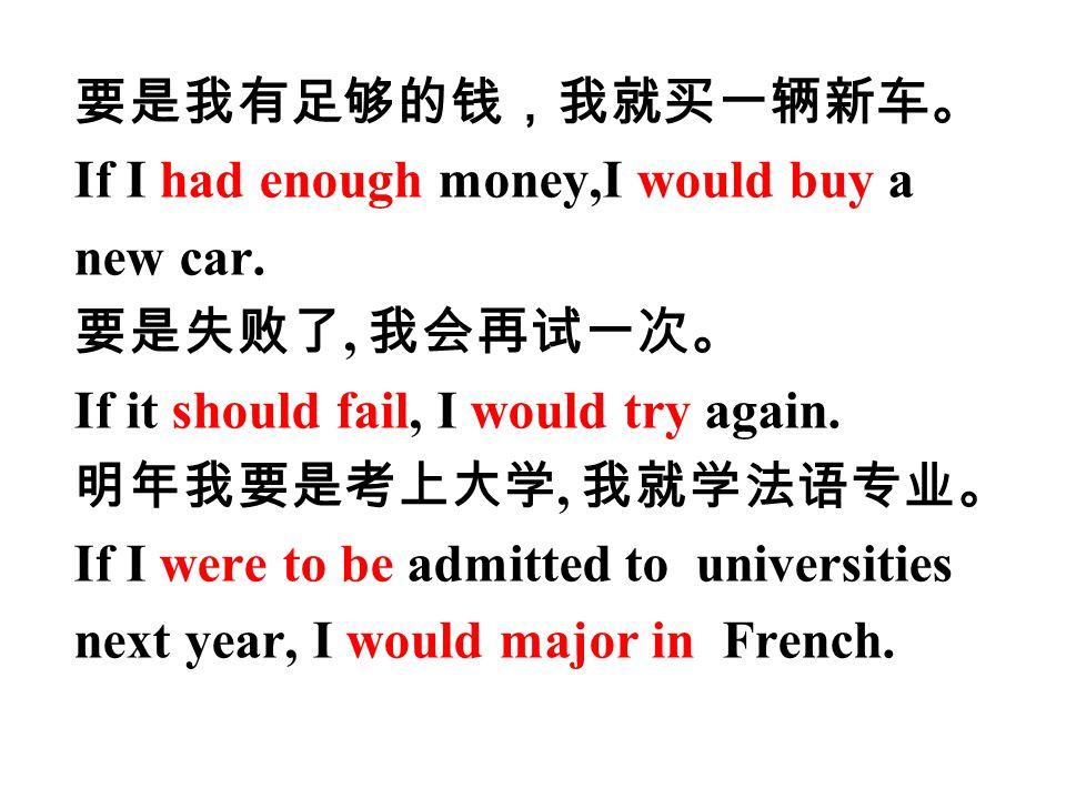 要是我有足够的钱,我就买一辆新车。 If I had enough money,I would buy a new car.