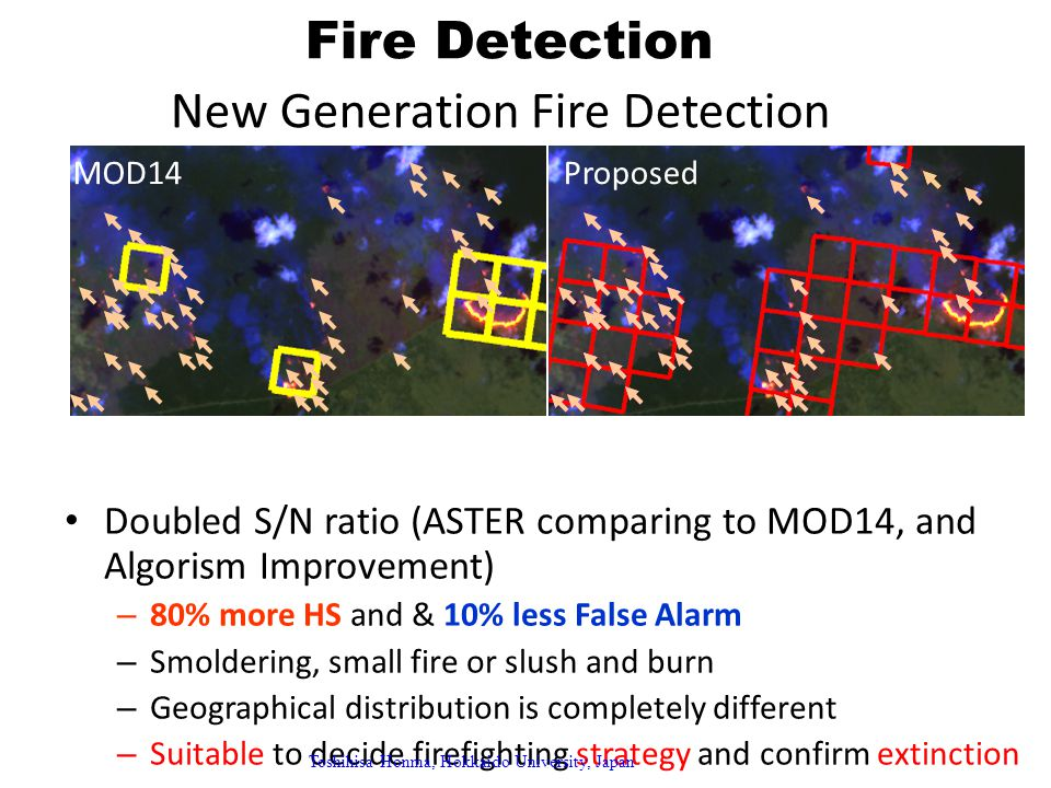Fire Detection New Generation Fire Detection Doubled S/N ratio (ASTER comparing to MOD14, and Algorism Improvement) – 80% more HS and & 10% less False Alarm – Smoldering, small fire or slush and burn – Geographical distribution is completely different – Suitable to decide firefighting strategy and confirm extinction MOD14Proposed Toshihisa Honma, Hokkaido University, Japan