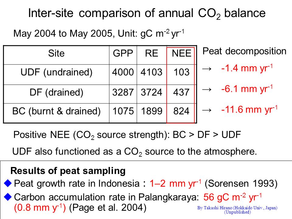 Inter-site comparison of annual CO 2 balance May 2004 to May 2005, Unit: gC m -2 yr -1 Positive NEE (CO 2 source strength): BC > DF > UDF SiteGPPRENEE UDF (undrained)40004103103 DF (drained)32873724437 BC (burnt & drained)10751899824 UDF also functioned as a CO 2 source to the atmosphere.