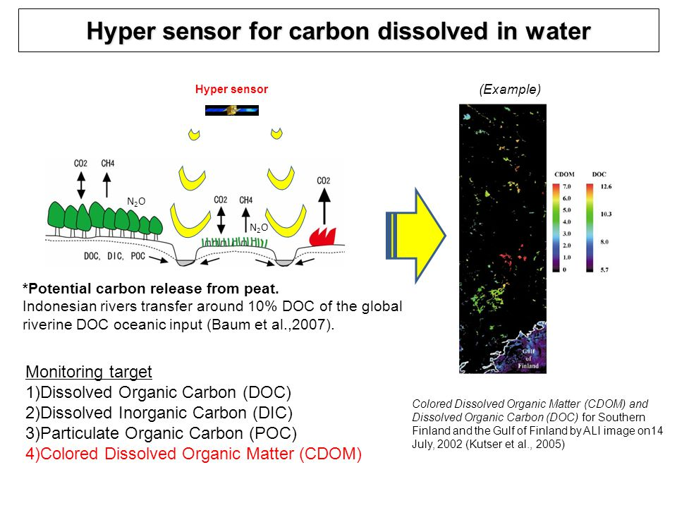 Hyper sensor for carbon dissolved in water N2ON2O N2ON2O Colored Dissolved Organic Matter (CDOM) and Dissolved Organic Carbon (DOC) for Southern Finland and the Gulf of Finland by ALI image on14 July, 2002 (Kutser et al., 2005) Hyper sensor Monitoring target 1)Dissolved Organic Carbon (DOC) 2)Dissolved Inorganic Carbon (DIC) 3)Particulate Organic Carbon (POC) 4)Colored Dissolved Organic Matter (CDOM) *Potential carbon release from peat.