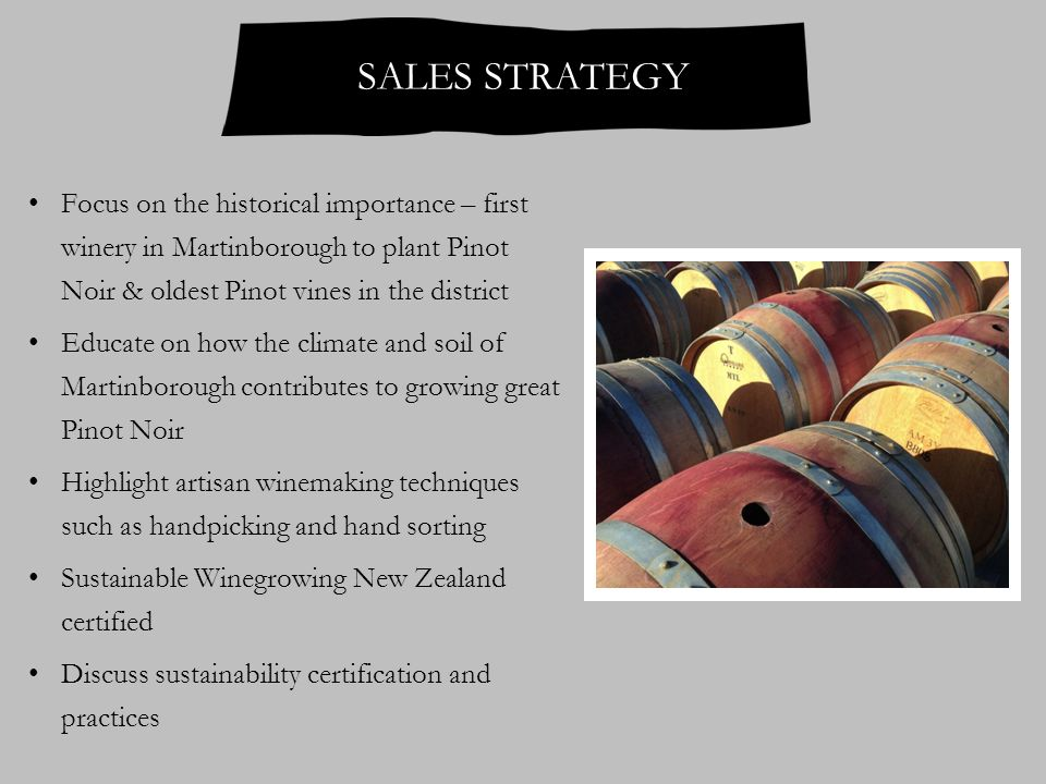 SALES STRATEGY Focus on the historical importance – first winery in Martinborough to plant Pinot Noir & oldest Pinot vines in the district Educate on how the climate and soil of Martinborough contributes to growing great Pinot Noir Highlight artisan winemaking techniques such as handpicking and hand sorting Sustainable Winegrowing New Zealand certified Discuss sustainability certification and practices