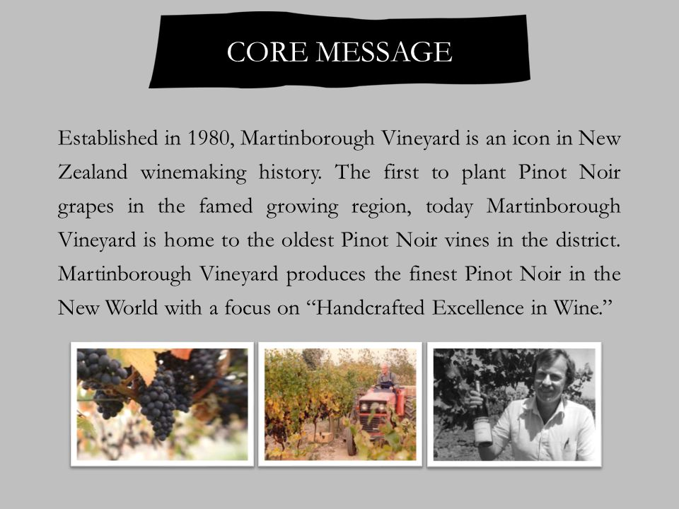 Pioneering Martinborough winery Established in 1980 Strong historical links with the region First to plant Pinot Noir in Martinborough Oldest Pinot Noir vines in the region Hand-tended vineyards Focus on high-end Pinot Noirs Mild climate Free draining soils Sustainable farming Paul Mason, Winemaker SUMMARY