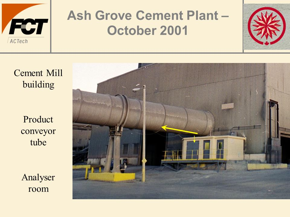 Ash Grove Cement Plant – October 2001 Cement Mill building Product conveyor tube Analyser room