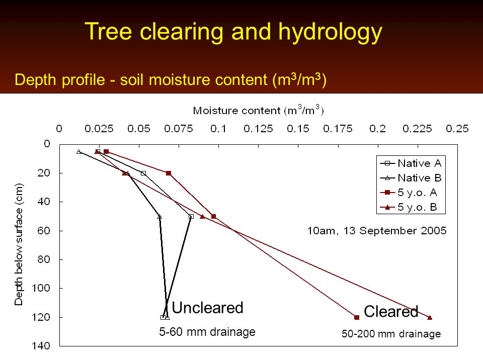 Tree clearing and hydrology Depth profile - soil moisture content (m 3 /m 3 ) Uncleared 5-60 mm drainage Cleared 50-200 mm drainage