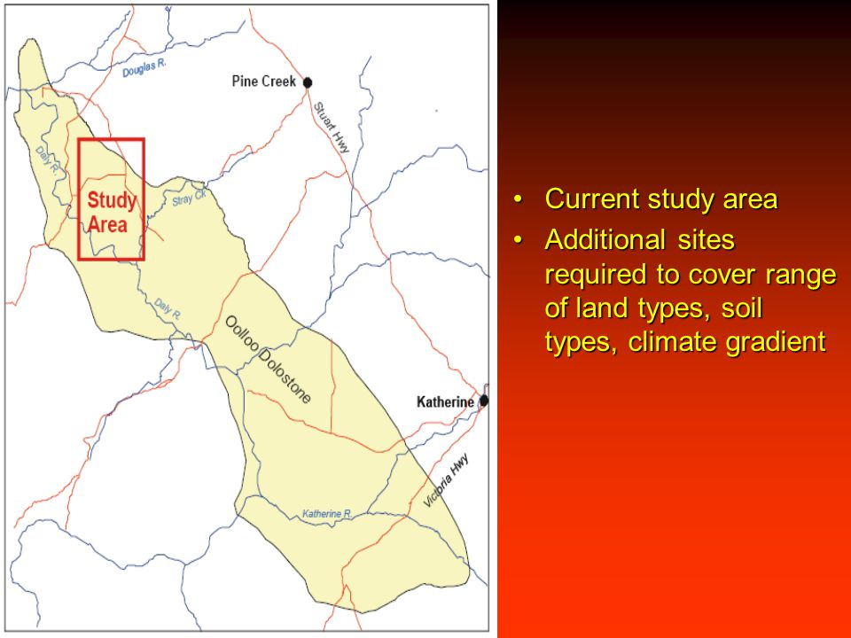 Current study areaCurrent study area Additional sites required to cover range of land types, soil types, climate gradientAdditional sites required to
