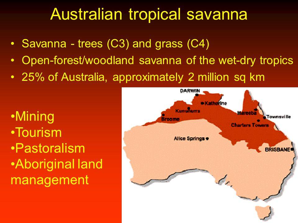 Australian tropical savanna Savanna - trees (C3) and grass (C4) Open-forest/woodland savanna of the wet-dry tropics 25% of Australia, approximately 2