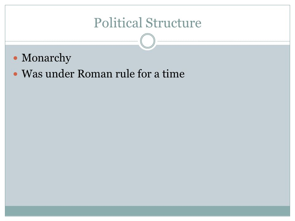 Political Structure Monarchy Was under Roman rule for a time