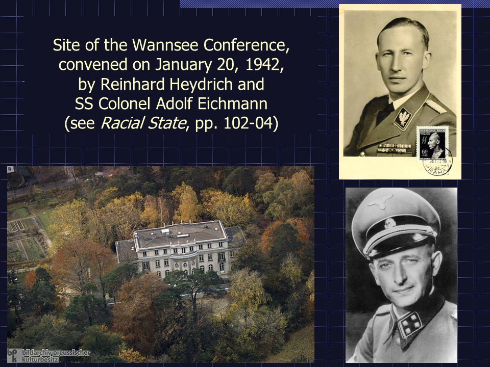 Site of the Wannsee Conference, convened on January 20, 1942, by Reinhard Heydrich and SS Colonel Adolf Eichmann (see Racial State, pp.