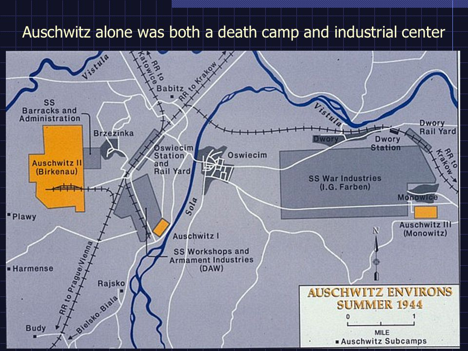 Auschwitz alone was both a death camp and industrial center