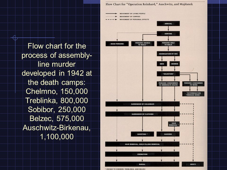 Flow chart for the process of assembly- line murder developed in 1942 at the death camps: Chelmno, 150,000 Treblinka, 800,000 Sobibor, 250,000 Belzec, 575,000 Auschwitz-Birkenau, 1,100,000