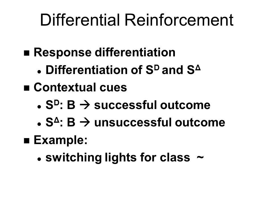 Generalization  Discrimination Hi Lo Shades of Blue Number of Pecks SΔSΔ SΔSΔ Pecking not reinforced when S Δ present SDSD