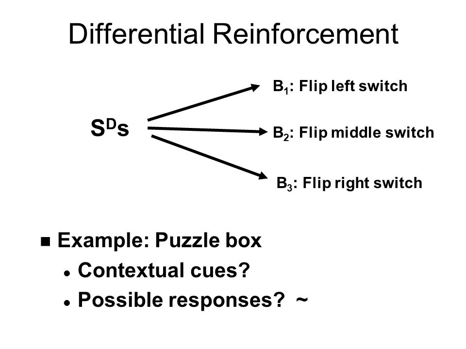 Differential Reinforcement: Continuous Variations in Behavior n On a single behavior l Variations in strength of extent n e.g., baking time for cookies l Not enough  doughy l Too much  burnt n S D s for good cookies.
