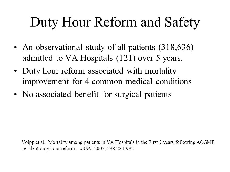 Duty Hour Reform and Safety An observational study of all patients (318,636) admitted to VA Hospitals (121) over 5 years.