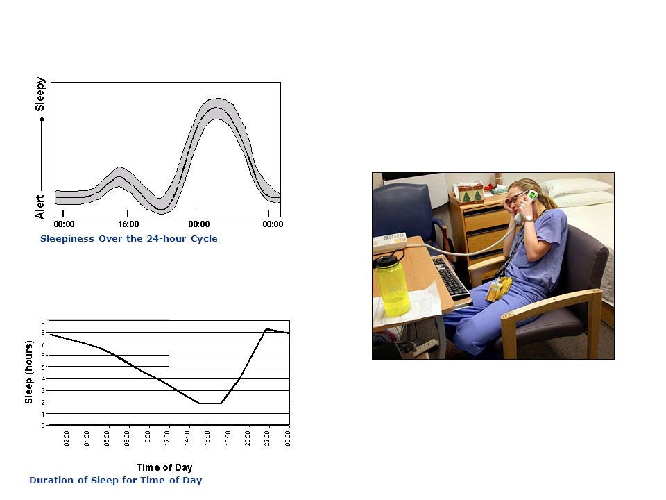 Adapted from Shapiro et al., 1997 Duration of Sleep for Time of Day Sleepiness Over the 24-hour Cycle