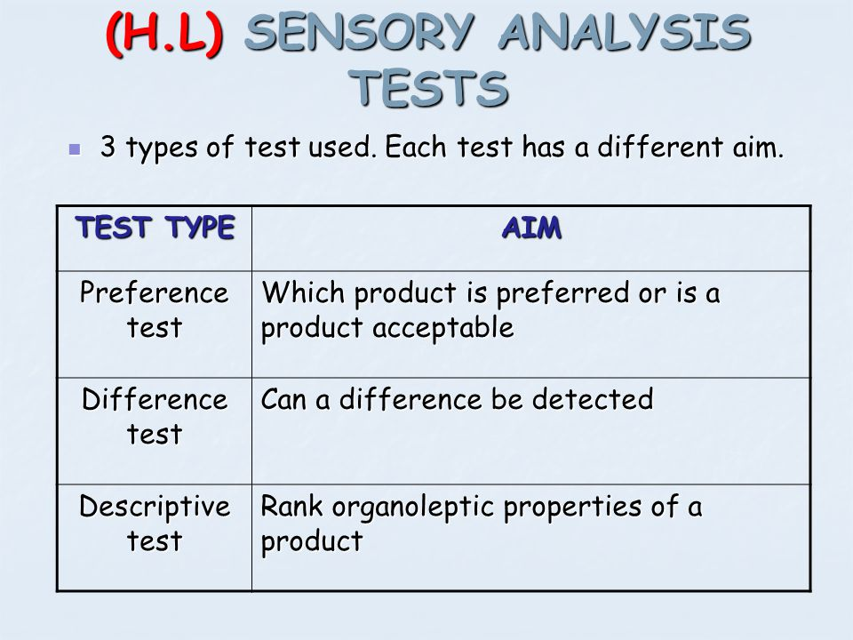 (H.L) SENSORY ANALYSIS TESTS 3 types of test used. Each test has a different aim. 3 types of test used. Each test has a different aim. TEST TYPE AIM P