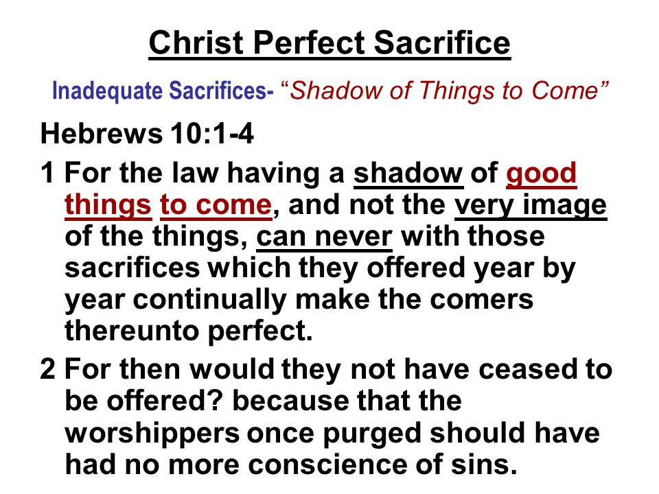 "Christ Perfect Sacrifice Inadequate Sacrifices- ""Shadow of Things to Come"" Hebrews 10:1-4 1 For the law having a shadow of good things to come, and no"