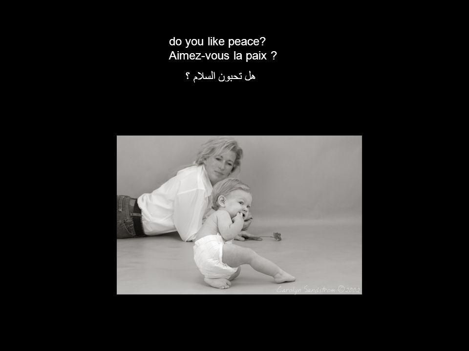 do you like peace Aimez-vous la paix هل تحبون السلام ؟