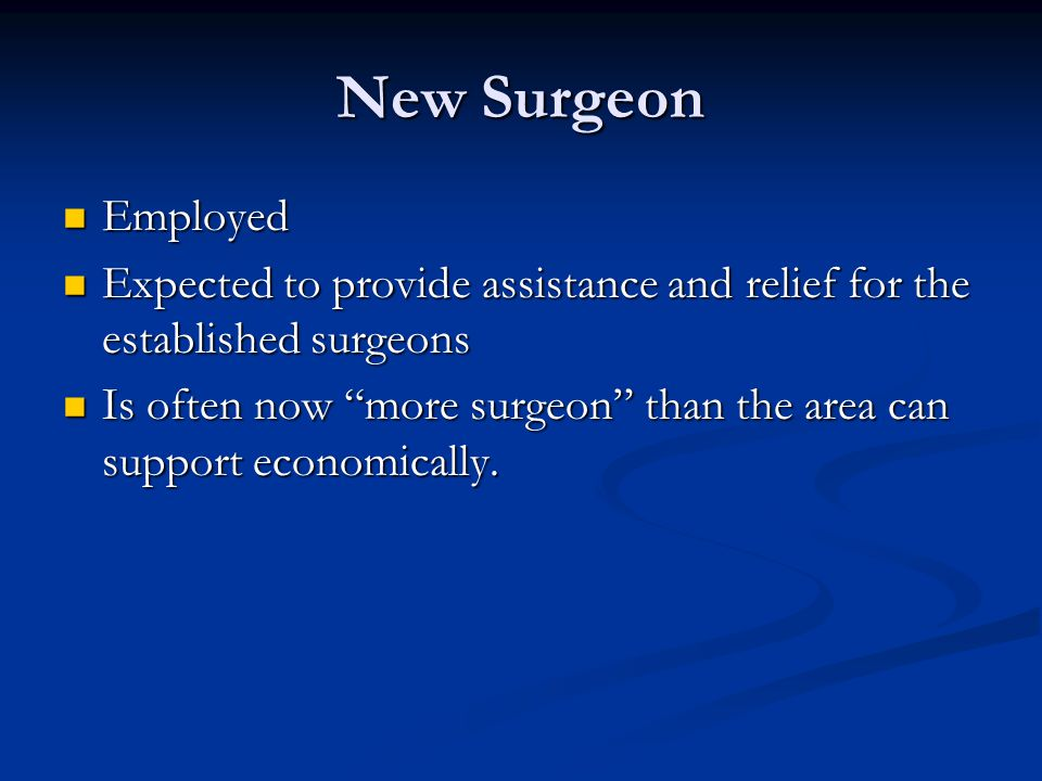 New Surgeon Employed Employed Expected to provide assistance and relief for the established surgeons Expected to provide assistance and relief for the