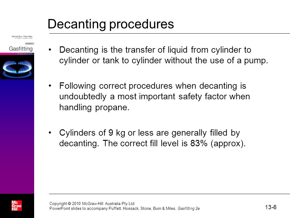 Decanting procedures Decanting is the transfer of liquid from cylinder to cylinder or tank to cylinder without the use of a pump.