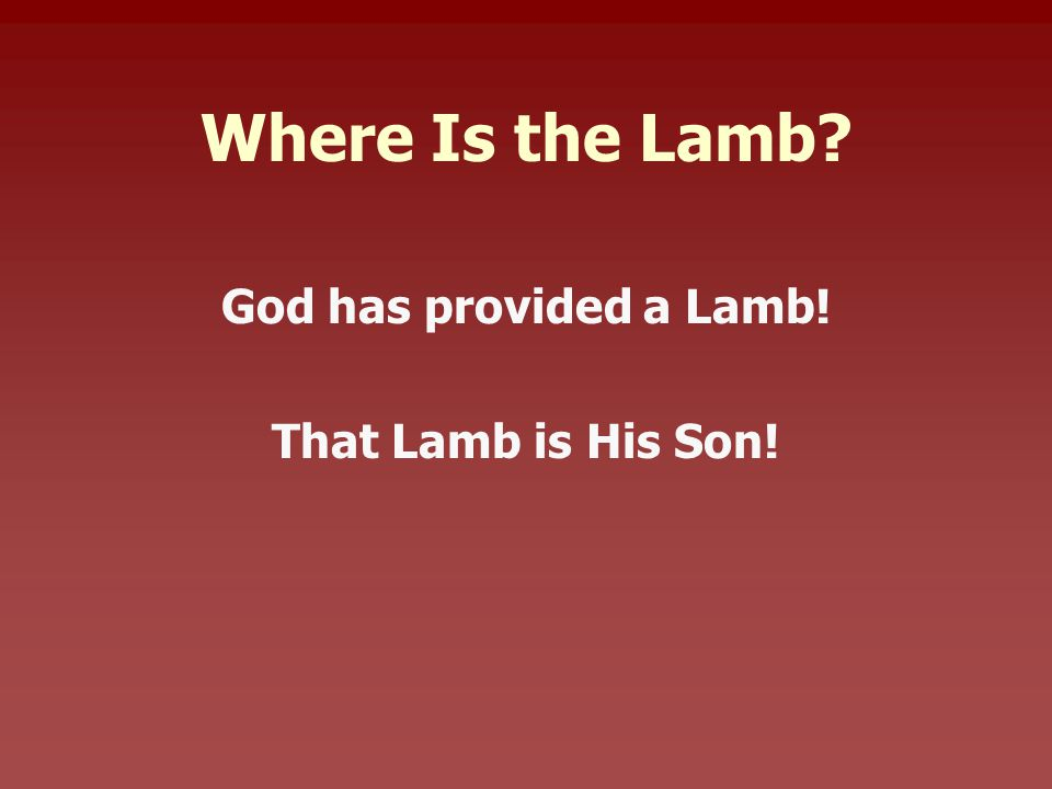 Where Is the Lamb God has provided a Lamb! That Lamb is His Son!