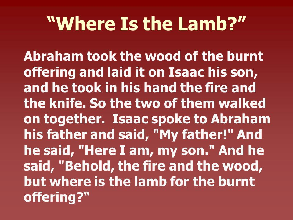 Where Is the Lamb Abraham took the wood of the burnt offering and laid it on Isaac his son, and he took in his hand the fire and the knife.