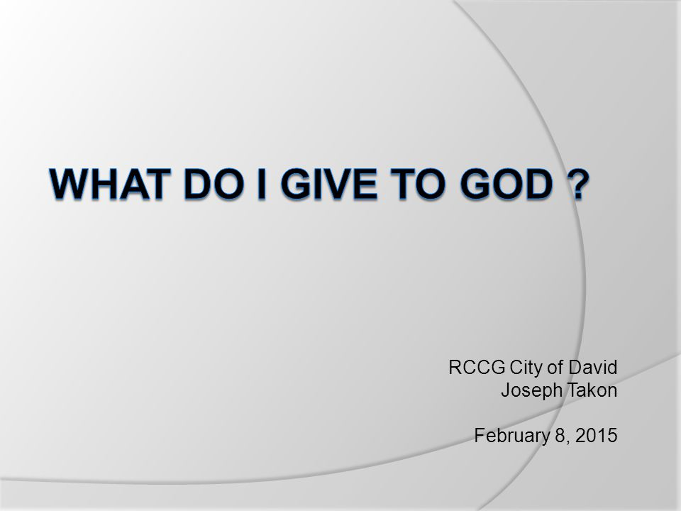 RCCG City of David Joseph Takon February 8, 2015