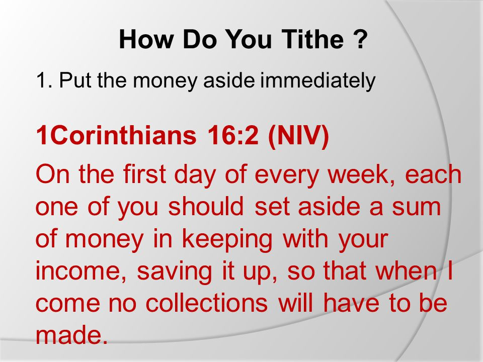 How Do You Tithe . 1.