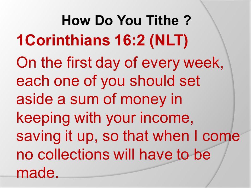 How Do You Tithe .