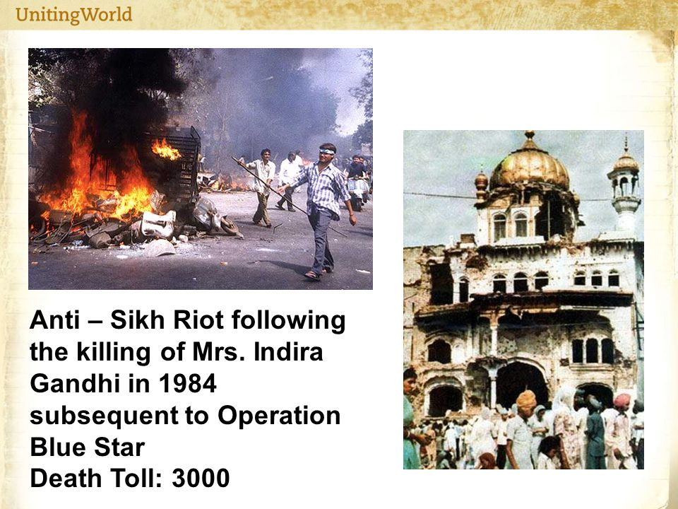 Anti – Sikh Riot following the killing of Mrs.