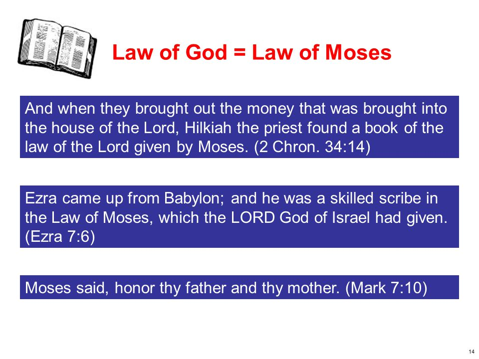 15 Law of God = Law of Moses The king also appointed a portion of his possessions for the burnt offerings: for the morning and evening burnt offerings, the burnt offerings for the Sabbaths and the New Moons and the set feasts, as it is written in the Law of the LORD.