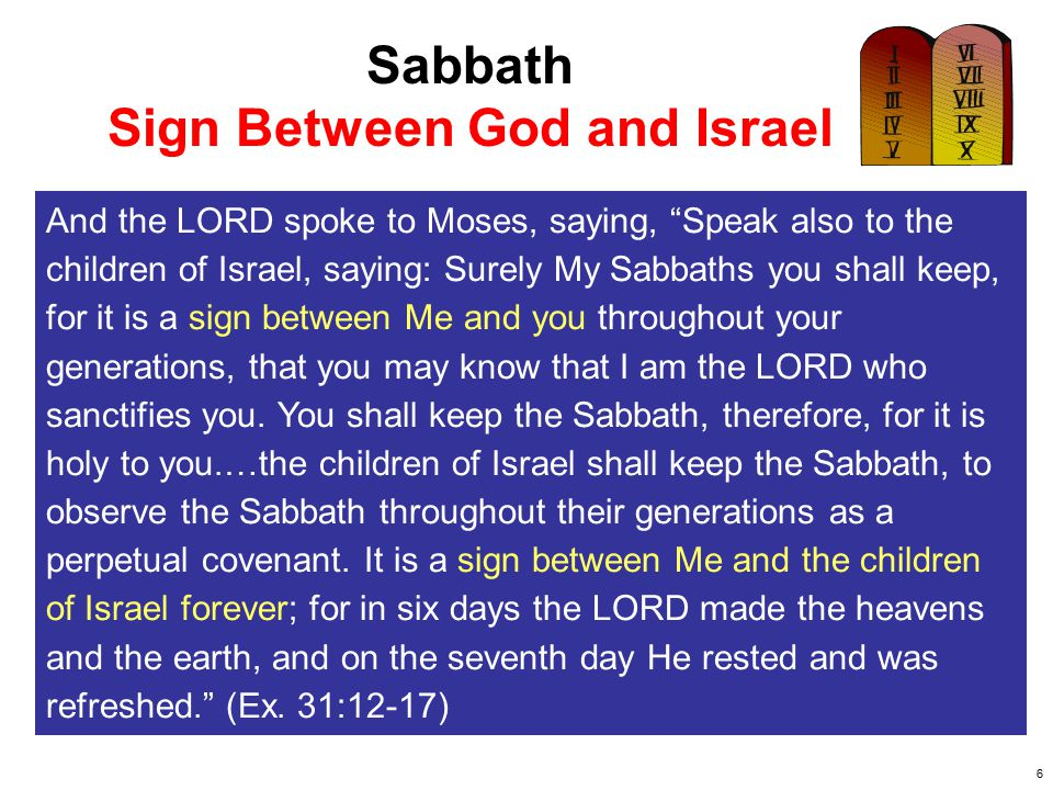 7 Sabbath Sign Between God and Israel Therefore I made them go out of the land of Egypt and brought them into the wilderness.