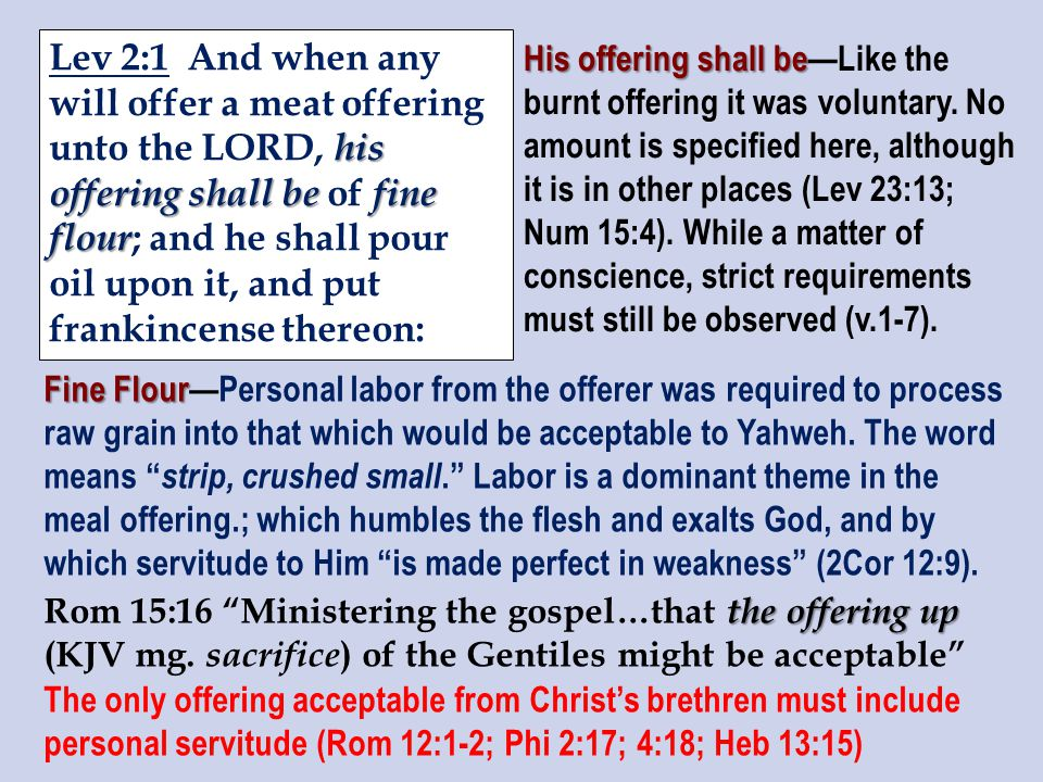 his offering shall be fine flour Lev 2:1 And when any will offer a meat offering unto the LORD, his offering shall be of fine flour ; and he shall pour oil upon it, and put frankincense thereon: His offering shall be His offering shall be—Like the burnt offering it was voluntary.