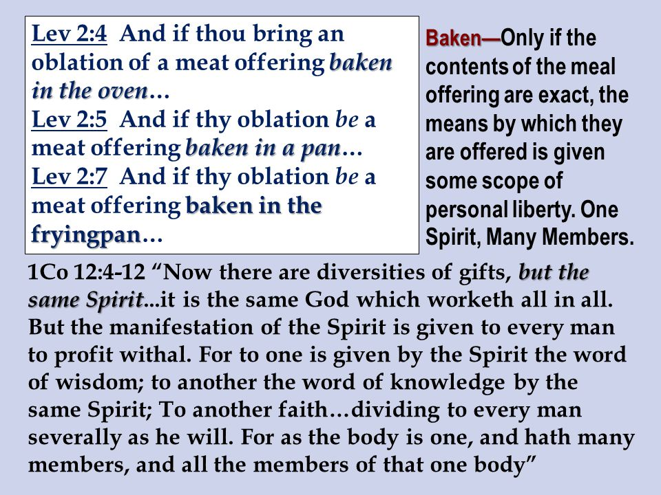 baken in the oven Lev 2:4 And if thou bring an oblation of a meat offering baken in the oven … baken in a pan Lev 2:5 And if thy oblation be a meat offering baken in a pan … baken in the fryingpan Lev 2:7 And if thy oblation be a meat offering baken in the fryingpan… Baken— Baken— Only if the contents of the meal offering are exact, the means by which they are offered is given some scope of personal liberty.