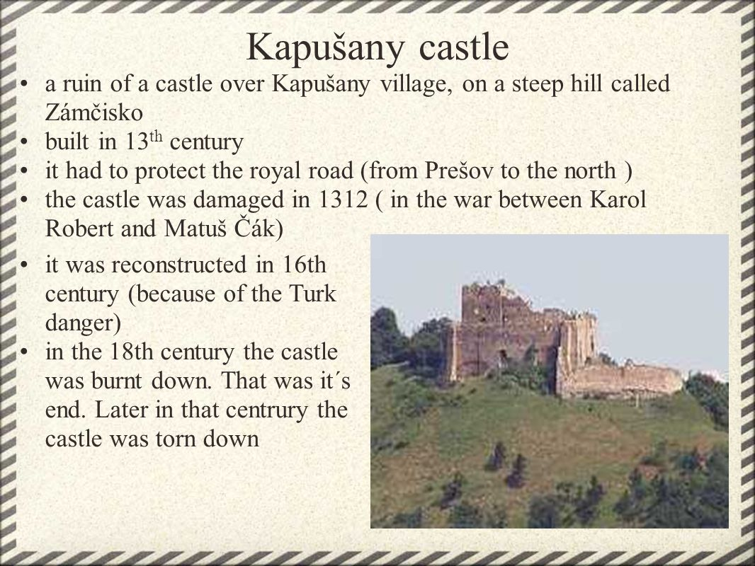 Kapušany castle past and present