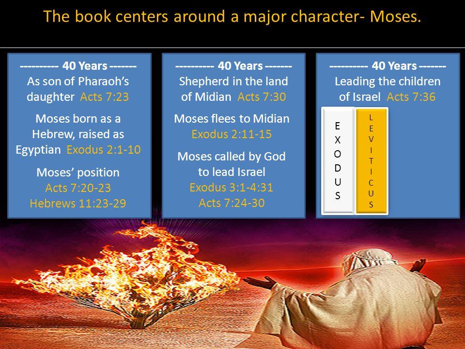 The book centers around a major character- Moses. EXODUSEXODUS EXODUSEXODUS Moses born as a Hebrew, raised as Egyptian Exodus 2:1-10 Moses' position A
