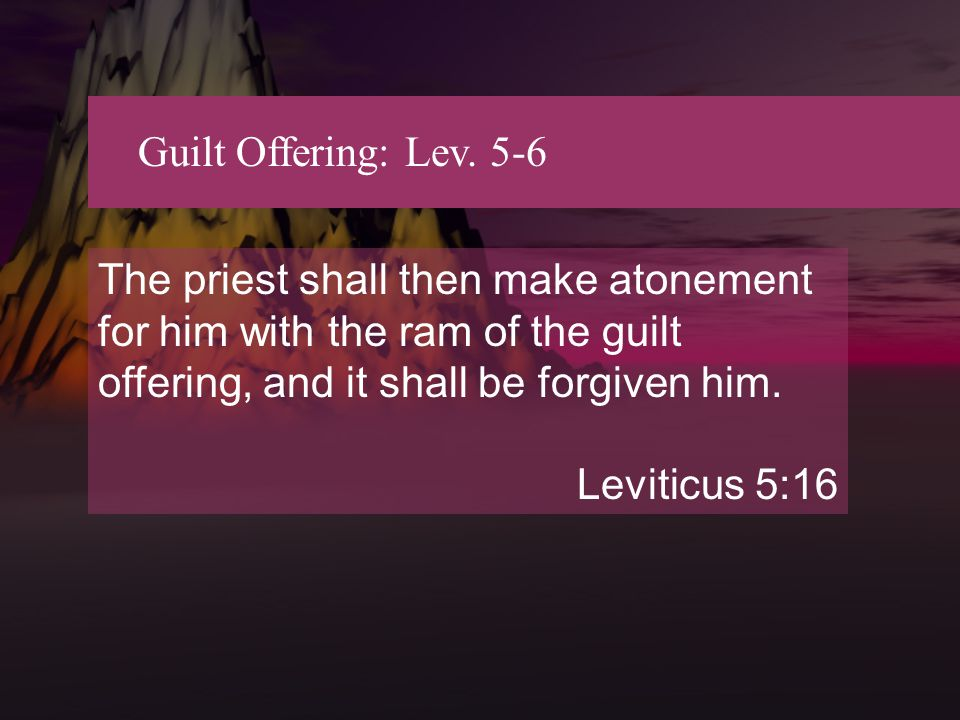 Guilt Offering: Lev. 5-6 The priest shall then make atonement for him with the ram of the guilt offering, and it shall be forgiven him. Leviticus 5:16